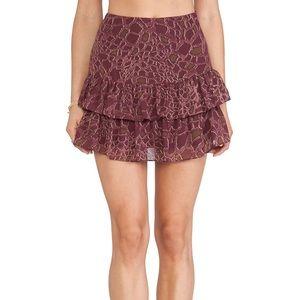 Sam Edelman Croc Print Ruffle Skirt